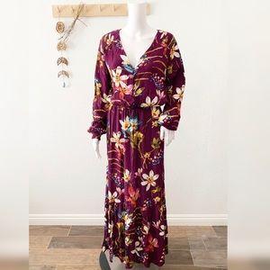 Eci Floral Tropical Maxi Dress New